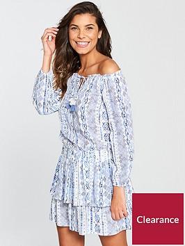 v-by-very-bardotnbsptiered-skirt-beach-dress-bluewhitenbsp