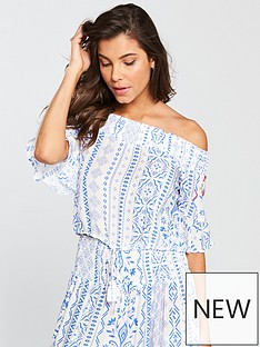 v-by-very-co-ord-off-the-shoulder-shirred-embroidered-beach-top-bluewhitenbsp