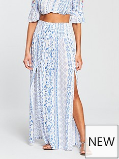 v-by-very-co-ord-shirred-beach-maxi-skirt-bluewhite