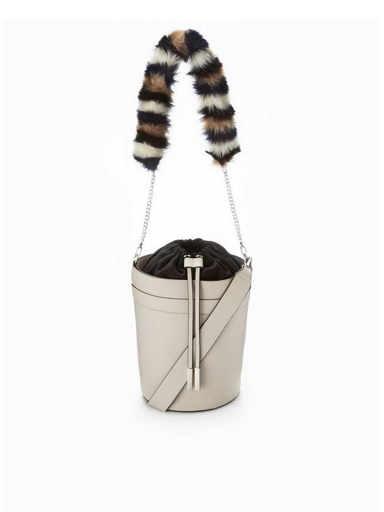 7357c40cc27 V by Very Faux Fur Strap Drawstring Bucket Bag - Grey   very.co.uk