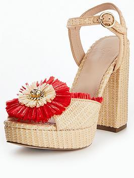 V By Very Valencia Raffia Platform Sandal - Red