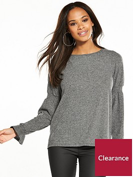 river-island-river-island-shirred-sleeve-jumper--grey