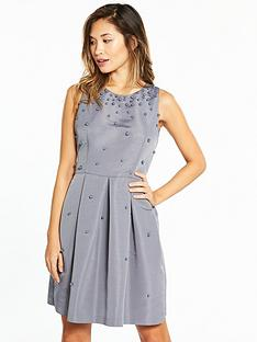 ted-baker-milliea-pearl-embellished-skater-dress-grey