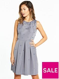 ted-baker-milliea-pearl-embellished-skater-dress-grey
