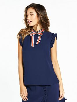 ted-baker-ted-baker-contrast-bow-frilled-sleeveless-top