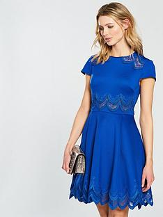 ted-baker-rehanna-embroidered-skater-dress-mid-blue