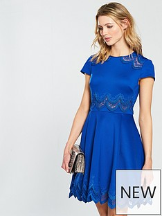 ted-baker-rehanna-embroidered-skater-dress-mid-blue