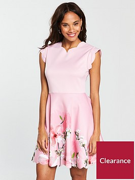 ted-baker-grettae-printed-skater-dress-pink