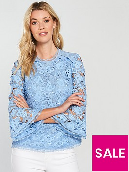 ted-baker-caetlyn-flute-sleeve-lace-blouse-pale-blue