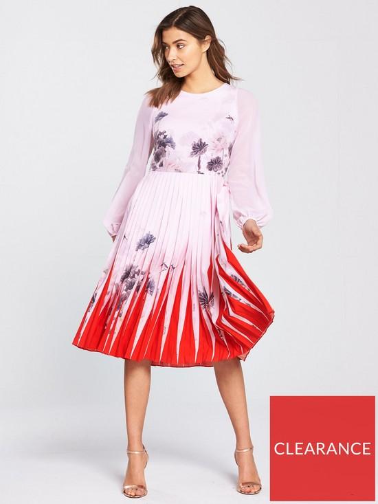 709d53168 Ted Baker Prticha Lake Of Dreams Pleated Dress - Dusky Pink