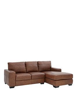 Hampshire 3 Seater Right Hand Premium Leather Corner Chaise Sofa