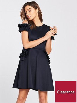 ted-baker-denesse-ruffle-detail-dress-navy