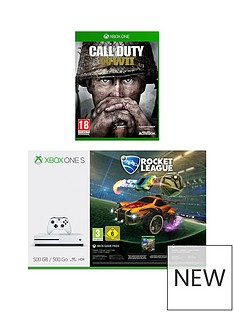 xbox-one-s-500gbnbspconsole-with-rocket-league-and-call-of-duty-world-war-iinbspplus-optional-extra-wireless-controller-andor-12-months-live-gold