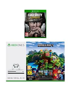 xbox-one-s-s-500gbnbspconsole-with-minecraft-minecraft-story-mode-call-of-duty-wwii-and-3-months-live-gold-plus-optional-extra-wireless-controller-andor-12-months-live-gold