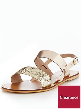 warehouse-flat-leather-sandals-ndash-gold