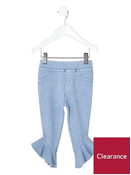 river-island-mini-girls-blue-denim-look-frill-hem-leggings