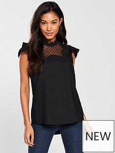 river-island-frill-sleeve-blouse--black
