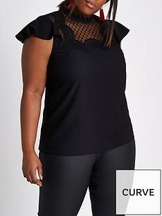 ri-plus-frill-sleeve-blouse--black