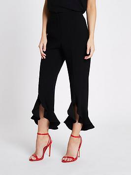 Ri Petite Frill Hem Trousers- Black