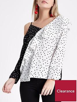 ri-petite-ri-petite-frill-contrast-blouse--mono-spot