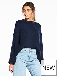 river-island-wide-sleeve-jumper--navy