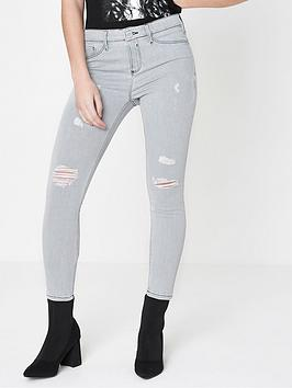 Ri Petite Molly Cement Jeans-Grey