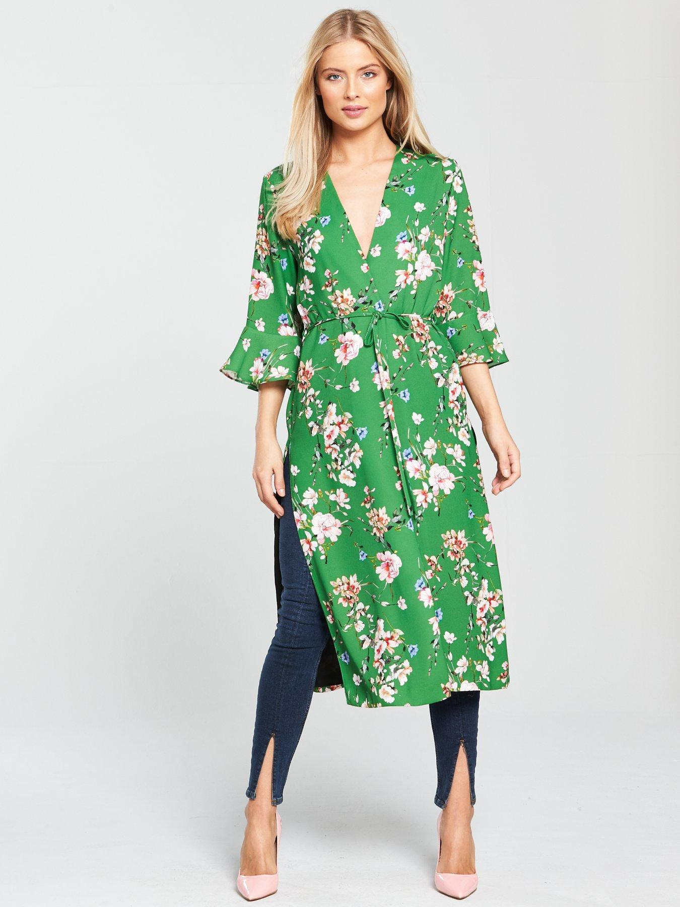 River island yellow floral embroidered coat dress