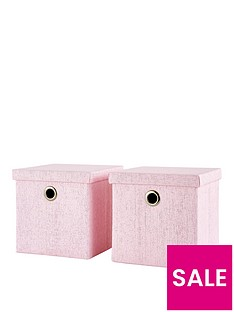 nbspset-of-2-glitter-paperloom-folding-lidded-cube-storage-boxes-in-pink