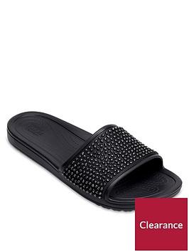 crocs-sloane-embellished-slider-black