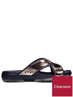 crocs-sloane-hammered-x-strap-slide-blackrose-gold