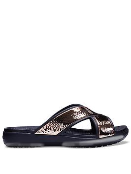 Crocs Sloane Hammered X Strap Slide - Black/Rose Gold