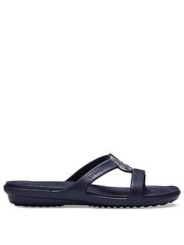 Crocs Sanrah Hammered Metallic Sandal - Black