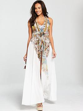 Forever Unique Fang Gold Chain Print Maxi Cover Up - White