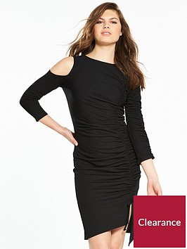 v-by-very-jersey-cold-shoulder-ruched-dress-black