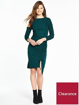 v-by-very-jersey-cold-shoulder-ruched-dress-teal