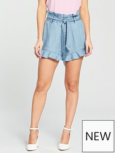 v-by-very-petite-tie-waist-frill-hem-shorts-denim-blue