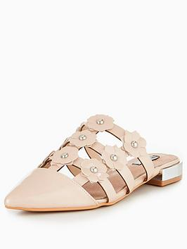Lost Ink Fenn Caged Floral Flat - Nude