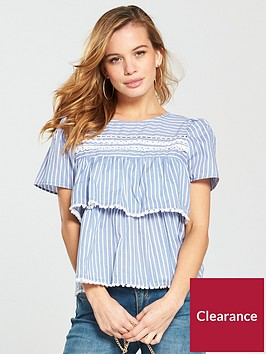 v-by-very-petite-stripe-pompom-blouse-bluewhite