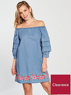 v-by-very-petite-embroidered-bardot-denim-dress-bluenbsp