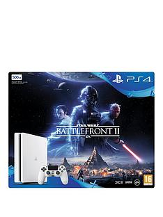 playstation-4-slimnbsp500gbnbspwhite-console-with-star-wars-battlefront-2-plus-optional-extra-controller-andor-12-months-playstation-network