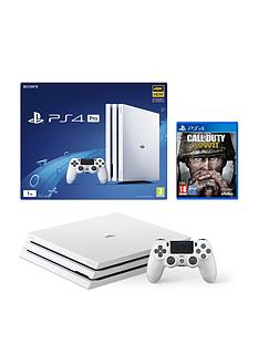 playstation-4-pro-pro-1tbnbspwhite-console-with-call-of-duty-world-war-ii-plus-optional-extra-controller-andor-12-months-playstation-network