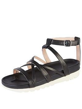 Kickers Karah Leather Strap Flat Sandal - Black
