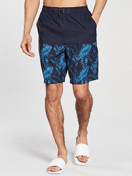 v-by-very-leaf-print-colour-block-board-short