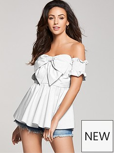 michelle-keegan-cotton-poplin-bow-front-bardot-blouse-white