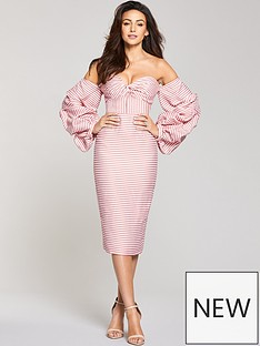 michelle-keegan-striped-exaggerated-sleeve-dress