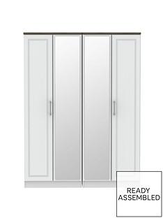 SWIFT Regent Ready Assembled 4 Door Mirrored Wardrobe