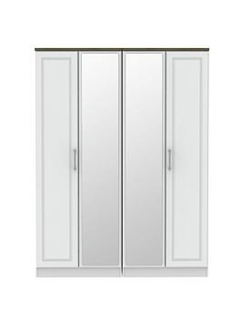 Swift Regent Ready Assembled 4 Door Mirrored Wardrobe