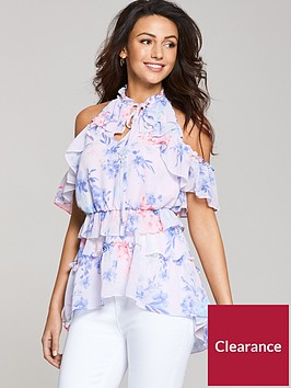 michelle-keegan-printed-tiered-halter-blouse