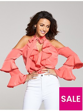 michelle-keegan-cold-shoulder-tiered-blouse