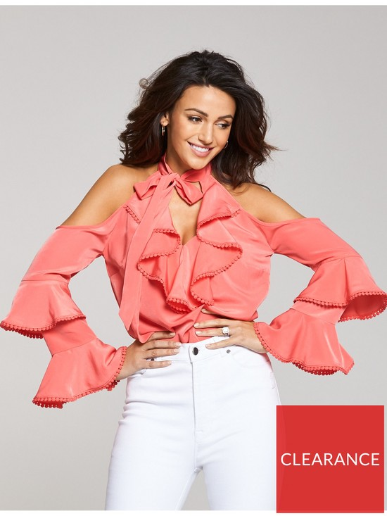 1a3684e4b1b Michelle Keegan Cold Shoulder Tiered Blouse